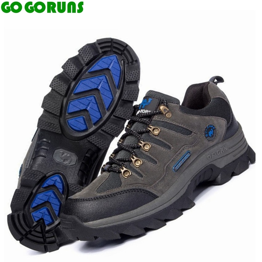 Outdoor hiking shoes men trekking breathable leather brand ...